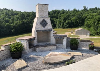 Custom Designed Outdoor Brick Fireplace and Patio